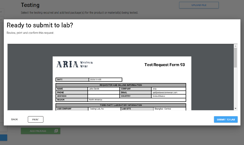 Branded Test Request Form (TRF) in Link Services